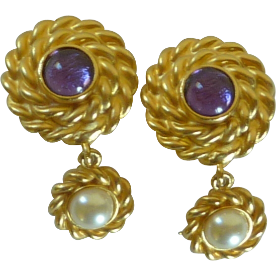 Gold Tone Braided Purple and White Clip on Earrings