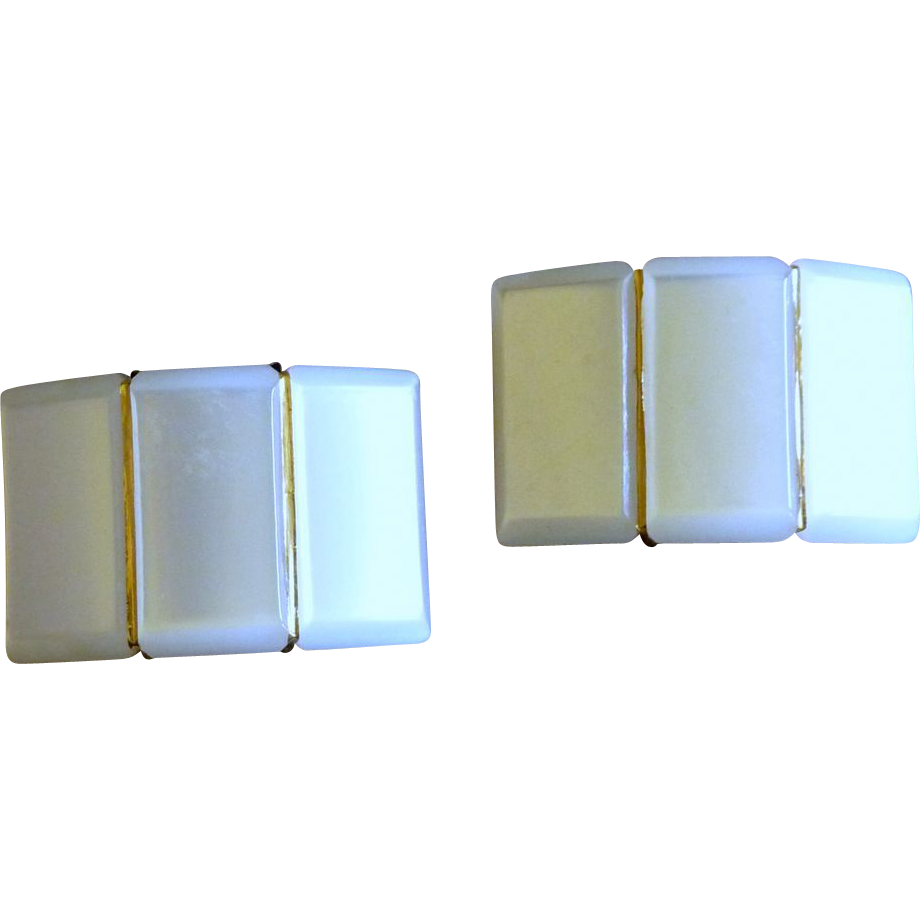 White Faux Mother of Pearl Shoe Clips