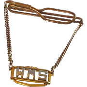 Vintage Gold Tone Initial WMS Tie Bar with Chain
