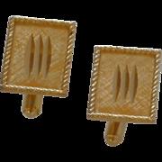 Swank Gold Tone Diamond Cut Cuff Links Cufflinks