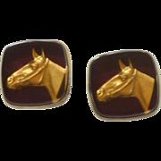 Gold Tone  Horse Head on Dark Red Background Cufflinks Cuff Links