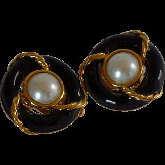 Anne Kline Nautical Black Faux Pearl Clip On Earrings