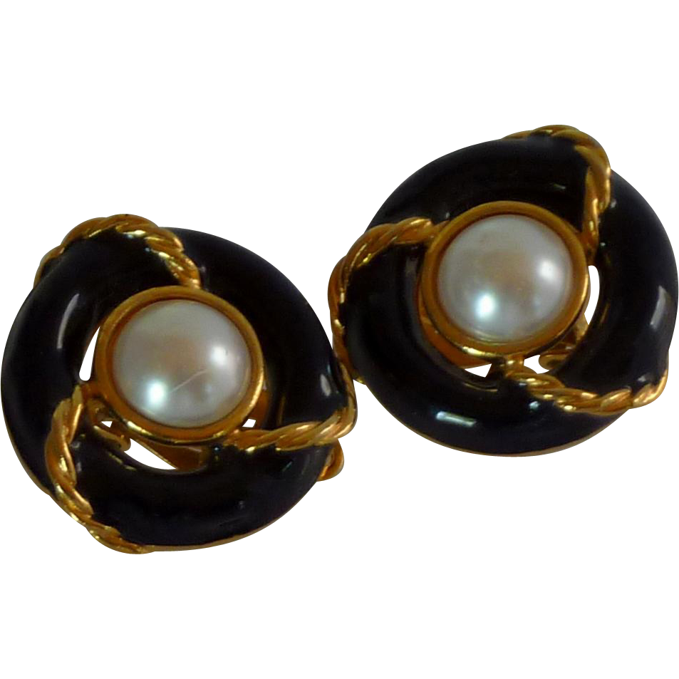 Anne Kline Nautical Black Faux Pearl Clip On Earrings