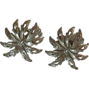Silver Tone Leaf Clip on Earrings