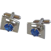 Blue Rhinestone Silver Tone Oxford Cufflink Cuff Links