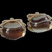 Brown Agate Stone Swank Gold Tone Cufflink Cuff Links