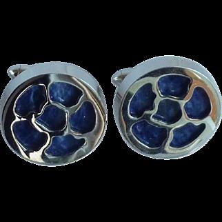 Swank Silver Tone Azure Blue Cufflinks Cuff Links