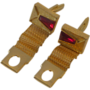 Wrap Around Mesh Gold Tone Red Rhinestone Cufflinks Cuff Links