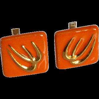 One of a Kind Orange Tile Ceramic Cufflinks