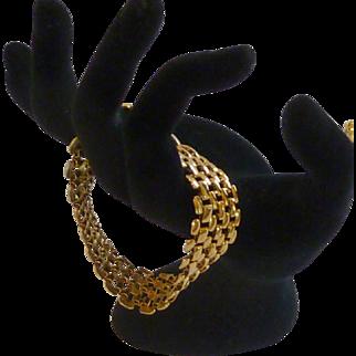Simple Wide Gold Tone Chain Bracelet