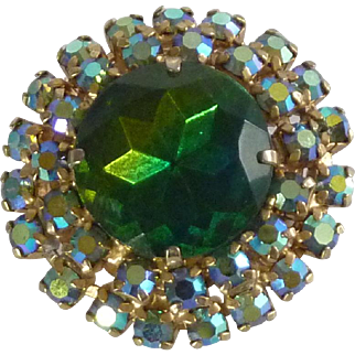 Large Faceted Green Glass with Small Rhinestone Brooch Pin