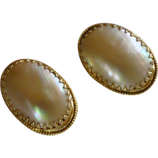 Whiting and Davis White Shell Clip On Earrings