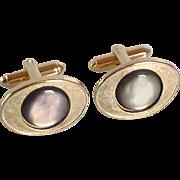 Swank Mother of Pearl Oval Silver Tone Cufflinks Cuff Links