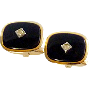 Foster Classic Look Gold Tone Black with Diamond Cufflinks Cuff Links