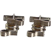 Pioneer Silver Tone Ribbon Cufflinks Cuff Links
