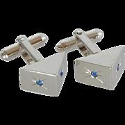 Shields Pyramid Shape Silver Tone Blue Rhinestone Cufflinks Cuff Links