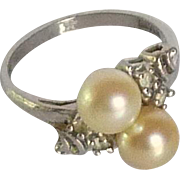 Crater Silver Tone Pearl Ring Size 7 1/2