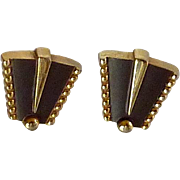 Anson Gold Tone with Black Fan Shaped Cuff Links Cufflinks