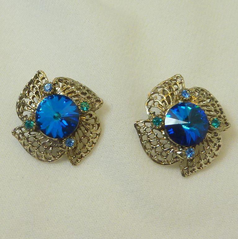 Gorgeous Blue Rhinestone Clip Earrings