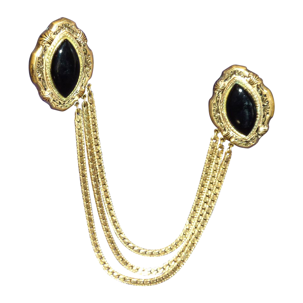 Chatelaine Gold Tone Cape Sweater Guard Clips