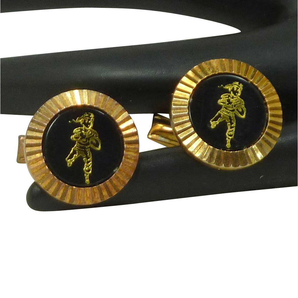 HIT Marshal Arts Gold Tone Diamond Cut Setting Cuff Links Cufflinks