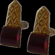 Unusual Red Lucite Gold Tone Anson Cufflinks Cuff Links
