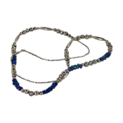 Blue Green Azurite Malachite Sterling Silver Necklace
