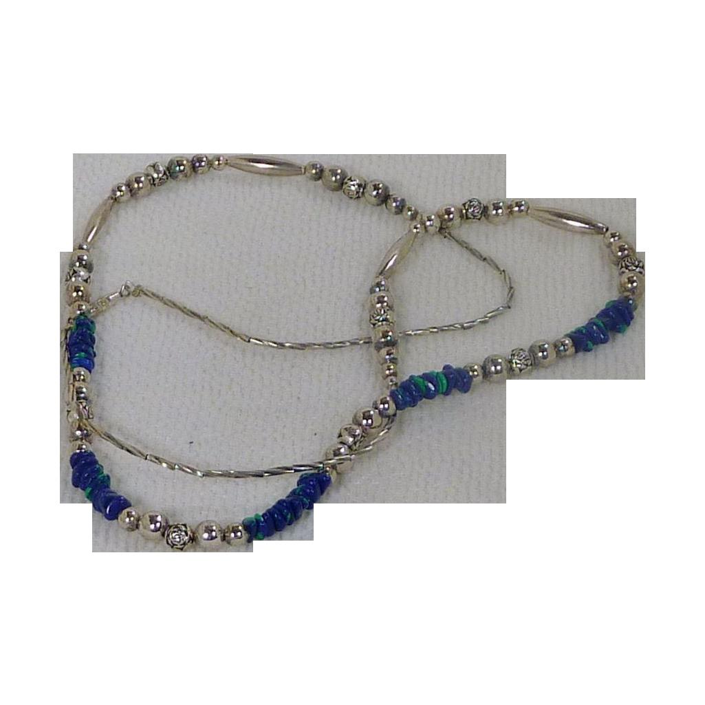 Blue Green Azurite Malachite Sterling Silver Necklace
