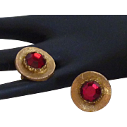 Large Red Rhinestone Glass Gold Tone Cufflinks Cuff Links