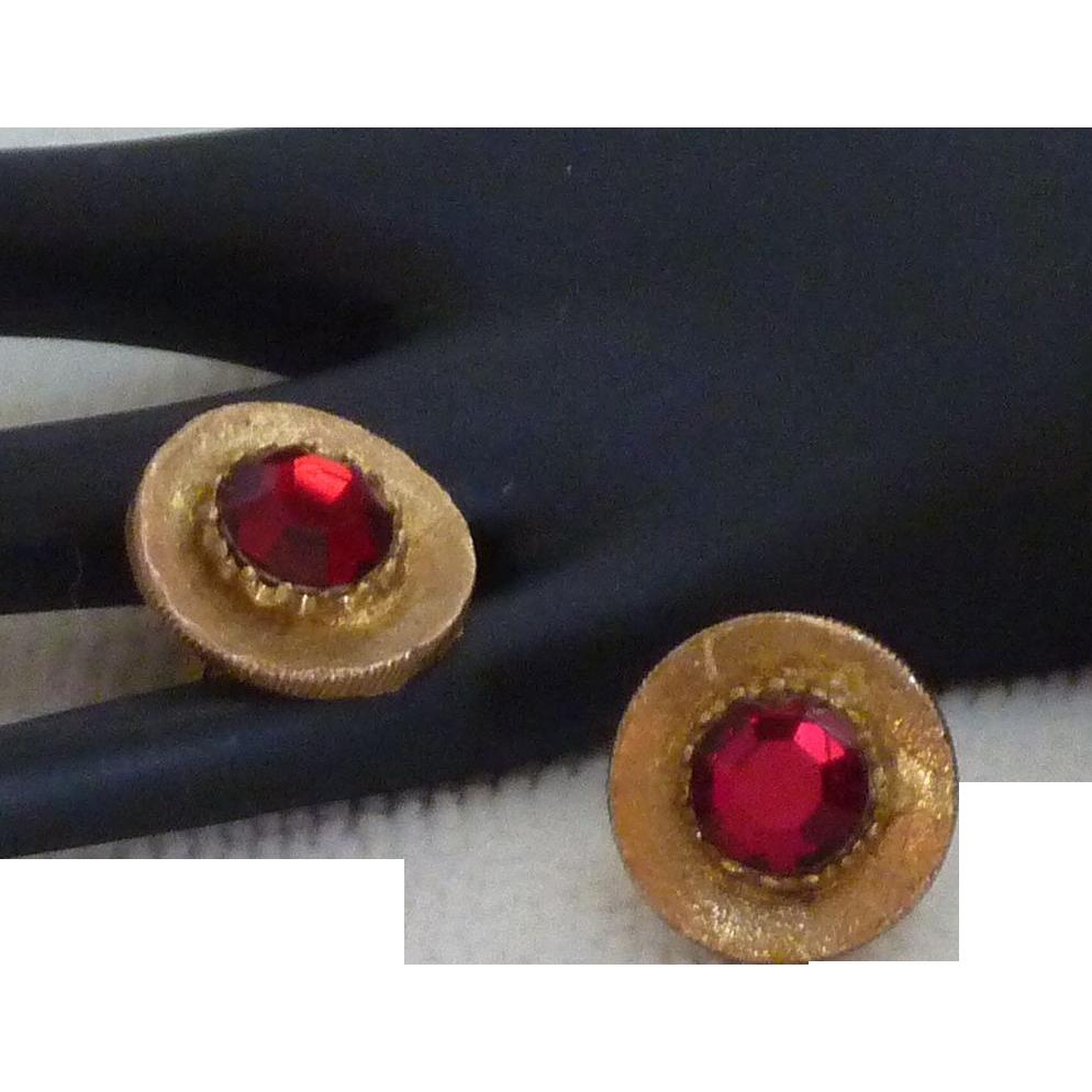 Large Red Rhinestone Glass Gold Tone Cufflinks Cuff Links