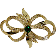 Bow Ribbon Pin with Green Rhinestone