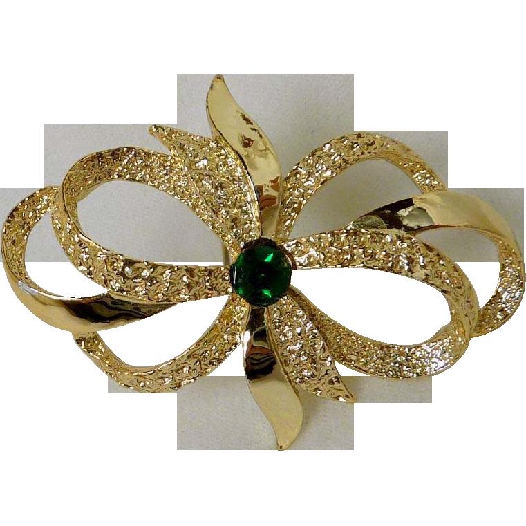 Bow Ribbon Pin with Green Rhinestone