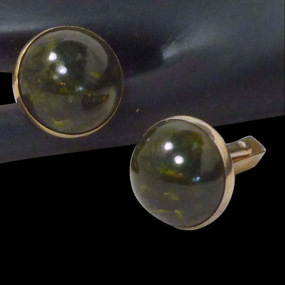 Round Dark Green Faux Stone Cufflinks Cuff Links