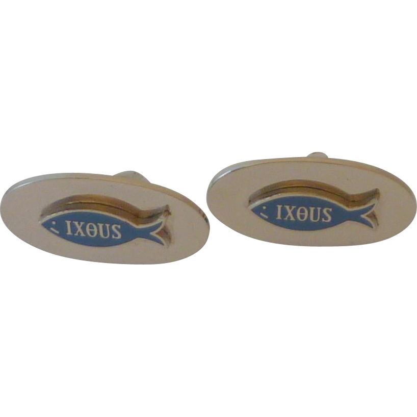 IXOUS the Fish Silver Tone Cufflinks Cuff Links