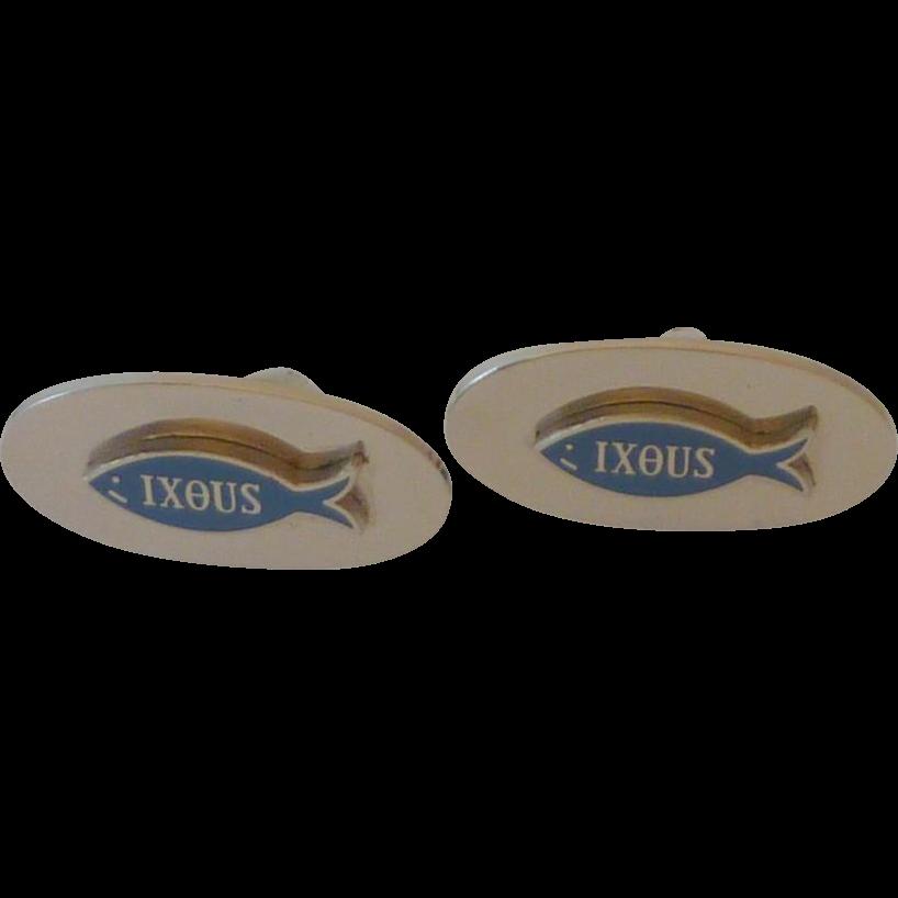IXOUS the Fish Silver Tone Cufflinks Cuff Links