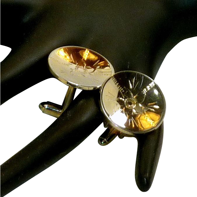 Alice Gold Tone Disc Etched Flowers Cufflinks Cuff Links