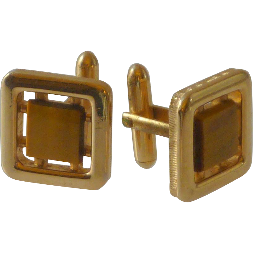 Tiger Eye Stone In Gold Tone Setting Cufflinks Cuff Links