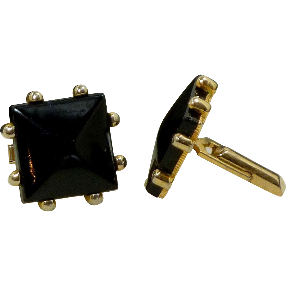 Large Black Square Faux Stone in Gold Tone Setting Cufflink Cuff Links