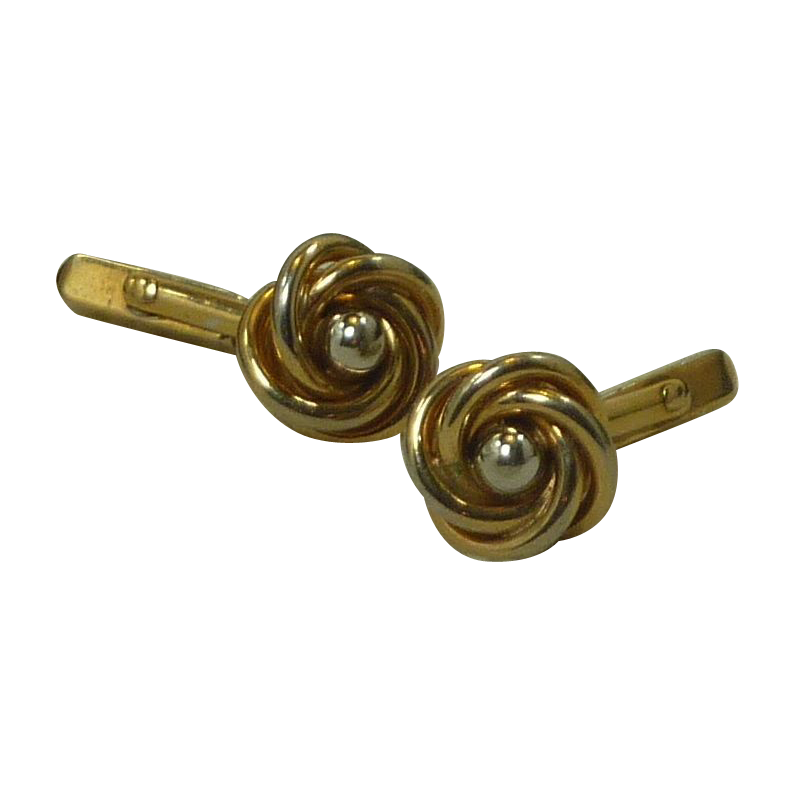 Swank Gold Tone Flower Rose Gold and Silver Tone Cufflink Cuff Links