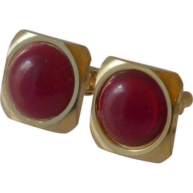 Small Square Gold Tone with Red Faux Stone Cufflinks Cuff Links