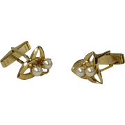 Simple Faux Pearl Gold Tone Cufflink Cuff Links