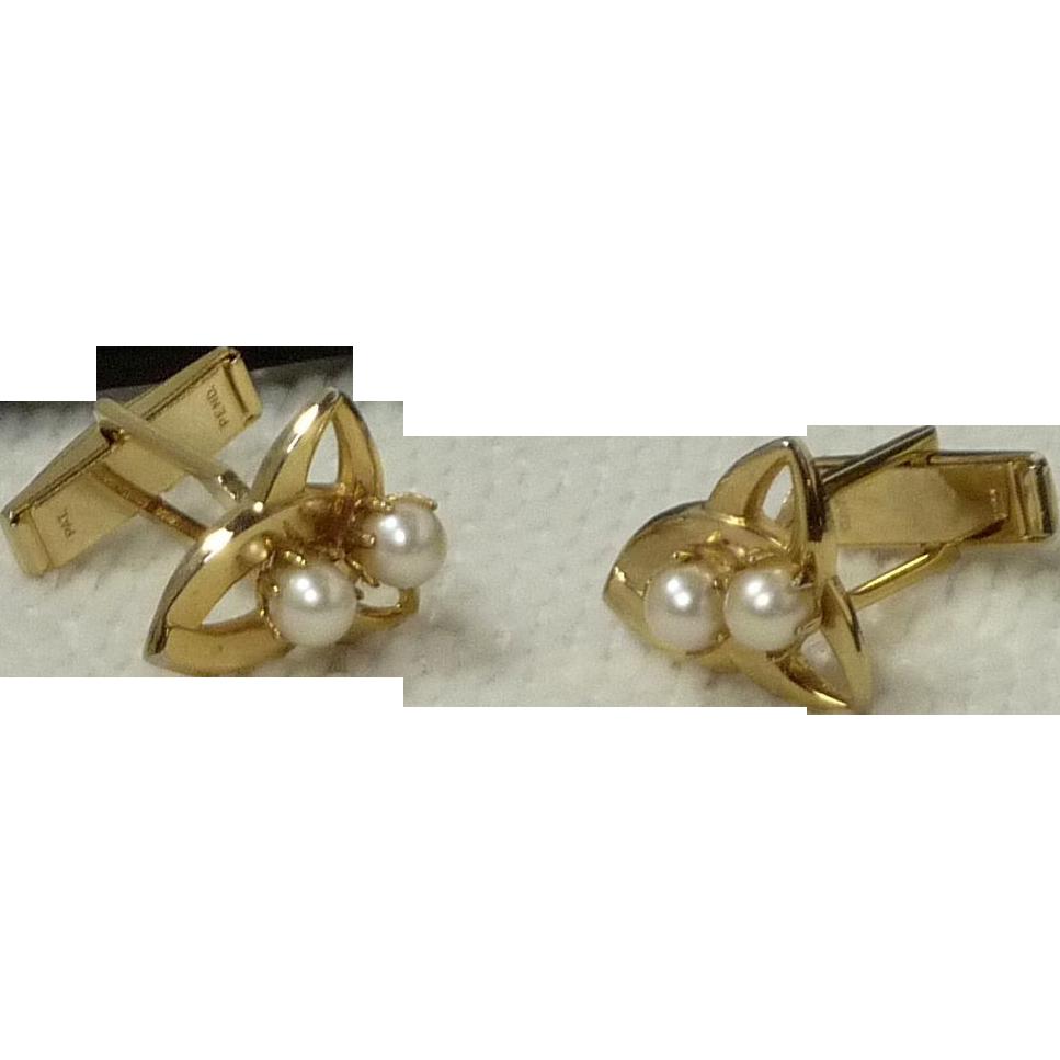 Simple Faux Pearl Gold Tone Cufflink Cuff Links