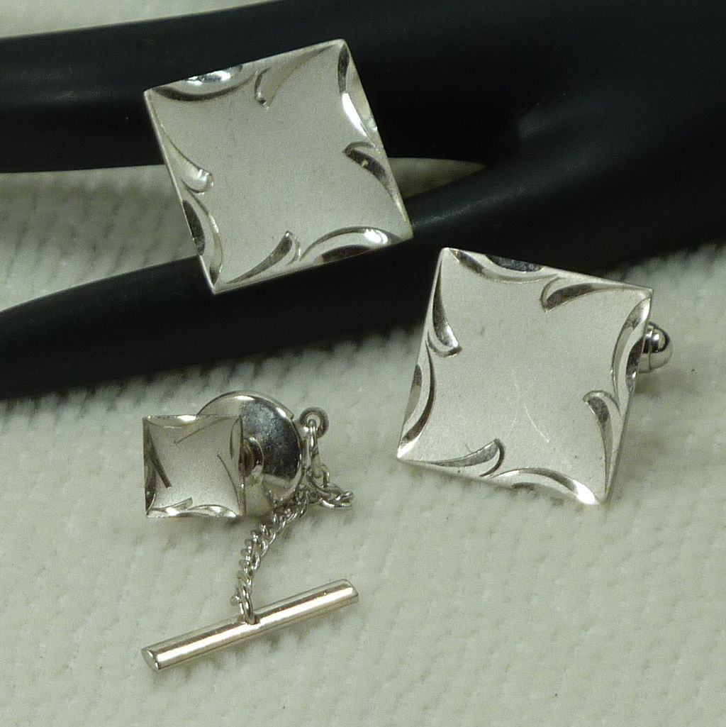 Sterling Silver Square Cufflinks  Cuff Links and Tie Pin