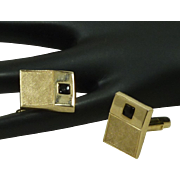 Brush Gold Tone Rectangle with Black Glass Stone Cufflinks Cuff Links