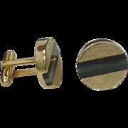Gold Tone Green / Black Band Round Cufflinks Cuff Links