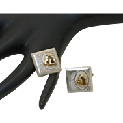 Swank Silver Tone with Gold Horse Head Cufflinks Cuff Links