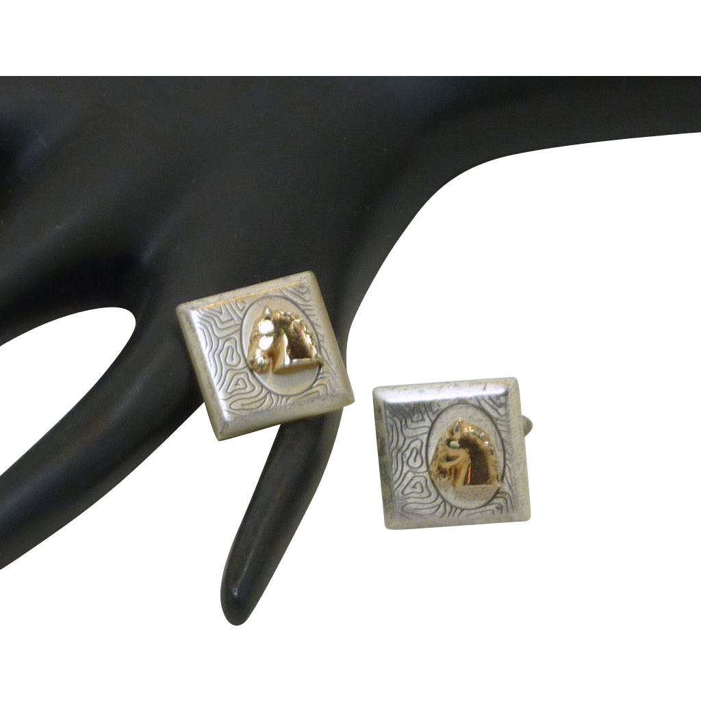 Swank Silver Tone with Gold Horse Head Cufflinks Cuff Links