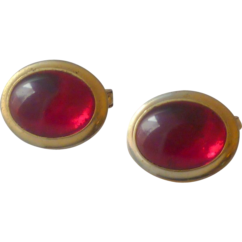 1950's Gold Tone Red Thermal Plastic Stone Cuff Links Cufflinks