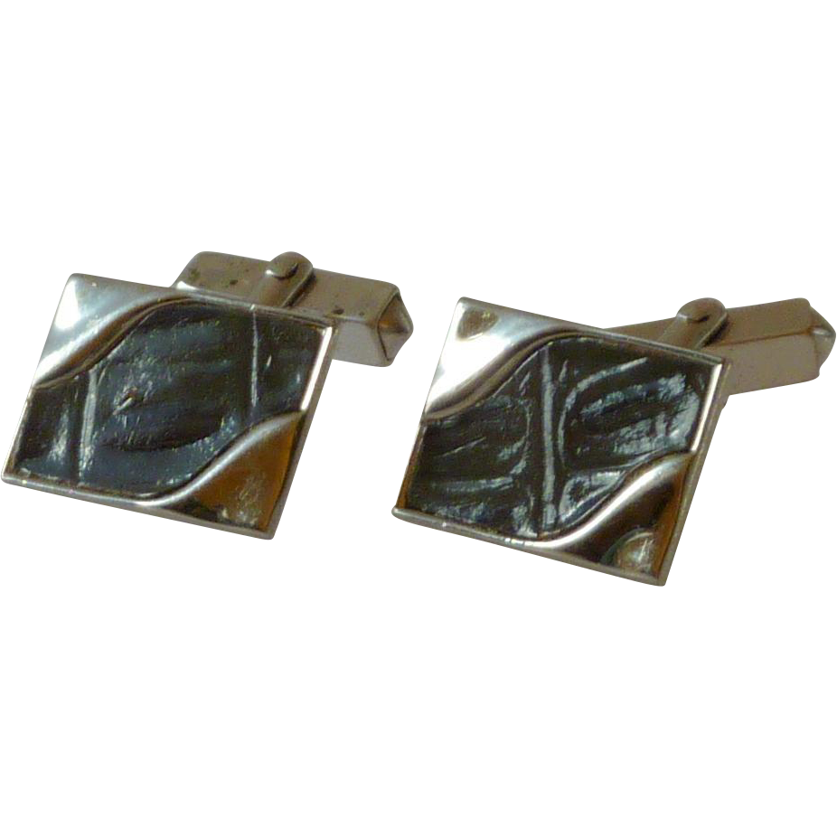 Swank Silver Tone Inset Faux Leather Cufflinks Cuff Links