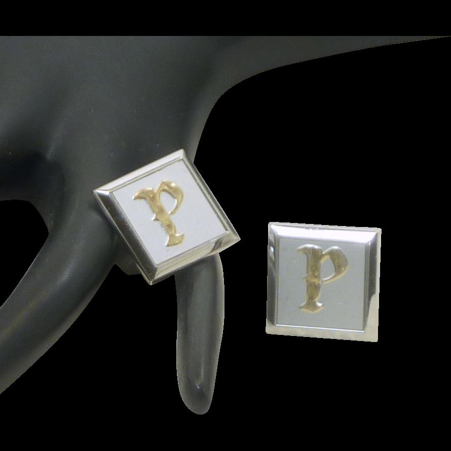 P Script Initial Silver Toned Swank Cufflinks Cuff Links